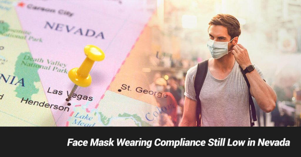 Nevada Map and Man with Face Mask in Public