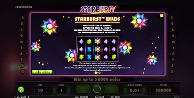 Exploring the paytable in Starburst slot.