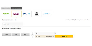 Online Casino Deposit Page.