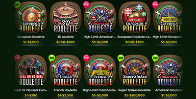 A number of different roulette versions