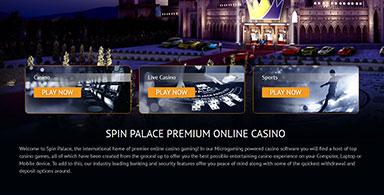 Spin Palace's casino facilities.