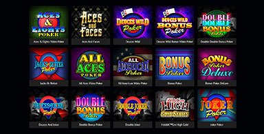 Picking form the available video poker games.