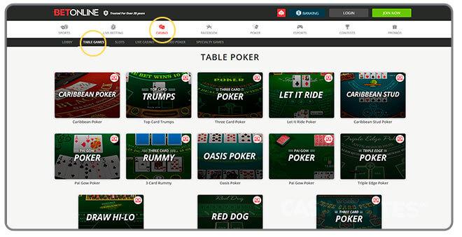 Image of Casino Poker Game Selection at BetOnline