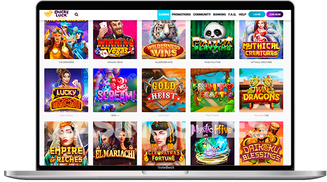 Image of casino games at Ducky Luck Casino