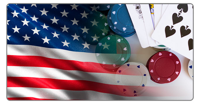 Image of USA flag and Poker Cards