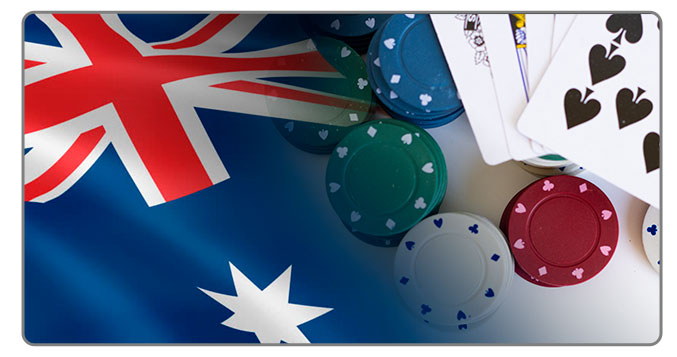 Image of Australian Flag and poker cards