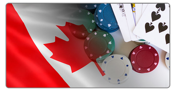 Image of Canadian Flag and poker cards