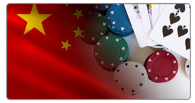 Image of Chinese Flag and poker cards