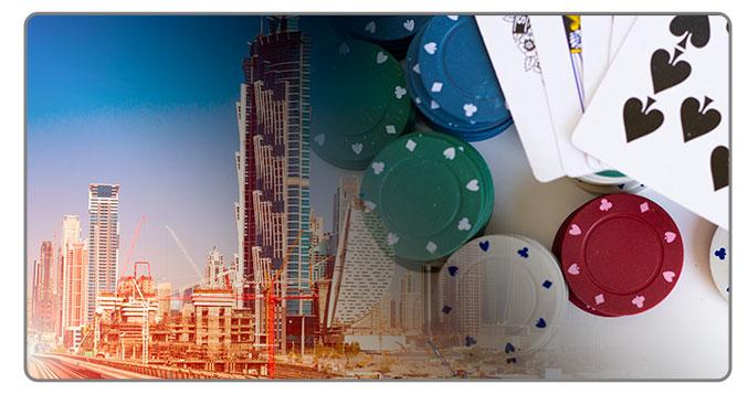 Image of Dubai and poker cards