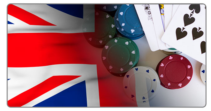 Image of UK flag and poker cards
