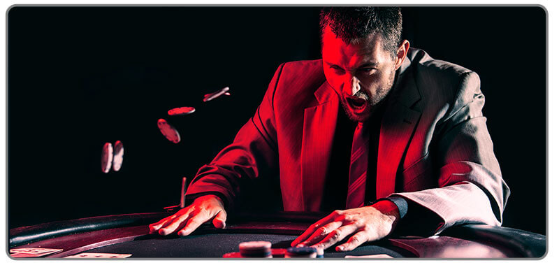 Image of poker player being anger
