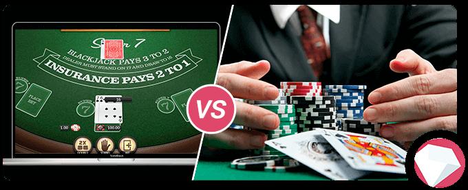 online blackjack vs land based blackjack