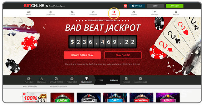 Image of the Poker Section at Betonline