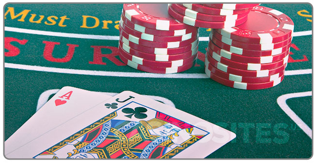 Image of a professional blackjack players cards