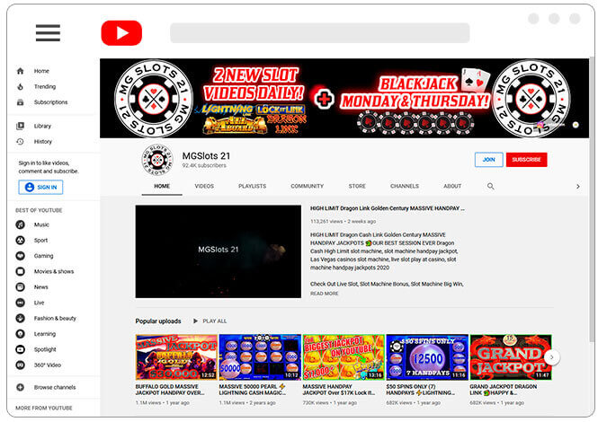 Image of MGSlots 21 Channel